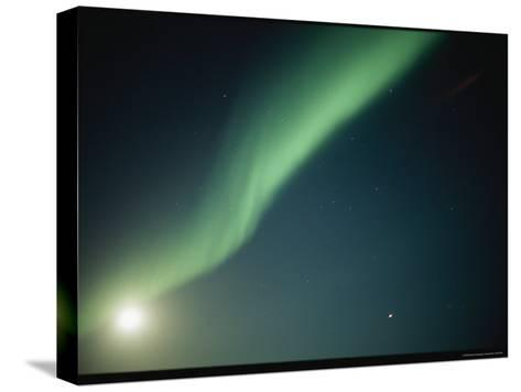 A Green Curtain of the Aurora Borealis in a Night Sky-Norbert Rosing-Stretched Canvas Print