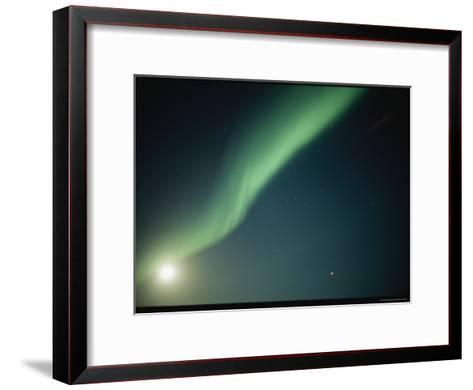 A Green Curtain of the Aurora Borealis in a Night Sky-Norbert Rosing-Framed Art Print