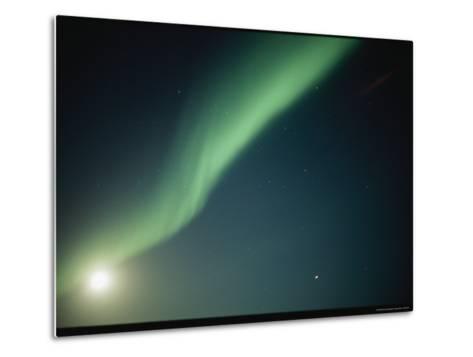 A Green Curtain of the Aurora Borealis in a Night Sky-Norbert Rosing-Metal Print