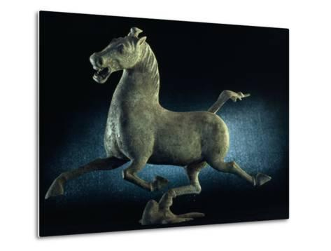 The Han Dynasty Famous Flying Horse of Gansu Sculpture, China-James L^ Stanfield-Metal Print