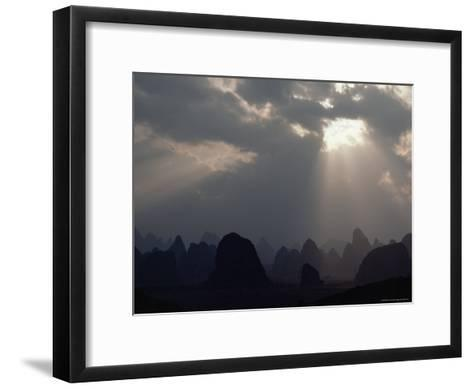 Sunlight Illuminates Limestone Peaks in a Karst Region near Guilin, Guangxi Province, China-James P^ Blair-Framed Art Print