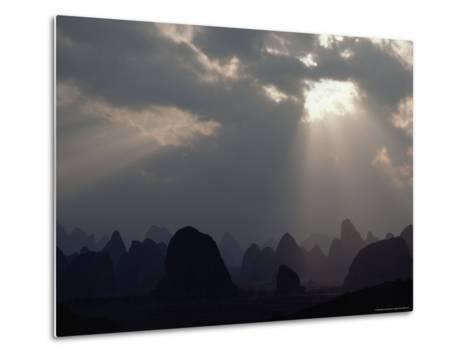 Sunlight Illuminates Limestone Peaks in a Karst Region near Guilin, Guangxi Province, China-James P^ Blair-Metal Print