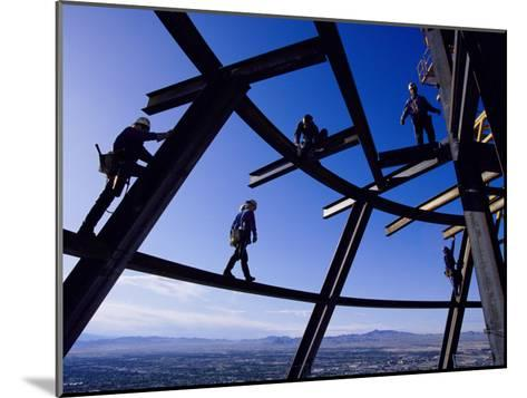 Construction Workers on Beams at the Top of the Statosphere Tower, Las Vegas, Nevada-Paul Chesley-Mounted Photographic Print