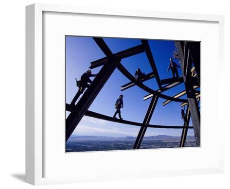 Construction Workers on Beams at the Top of the Statosphere Tower, Las Vegas, Nevada-Paul Chesley-Framed Art Print