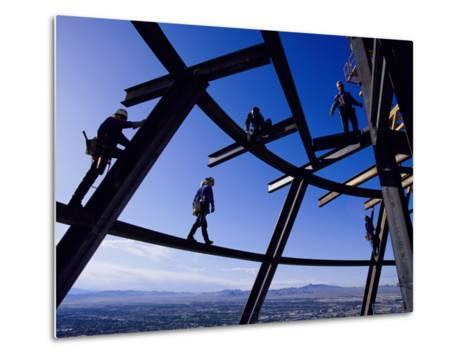 Construction Workers on Beams at the Top of the Statosphere Tower, Las Vegas, Nevada-Paul Chesley-Metal Print