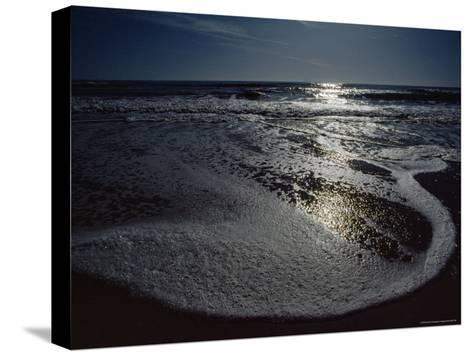The Atlantic Ocean with Moonlight Reflected on the Foamy Surf, Assateague Island, Virginia-James P^ Blair-Stretched Canvas Print