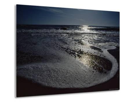 The Atlantic Ocean with Moonlight Reflected on the Foamy Surf, Assateague Island, Virginia-James P^ Blair-Metal Print