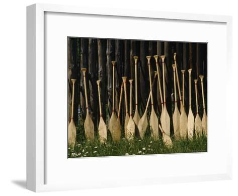 Oars Are Propped Against a Fence, Old Fort William, Thunder Bay, Ontario, Canada-James P^ Blair-Framed Art Print