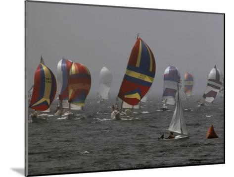 Spinnakered Boats Race in the Plattsburgh Mayor's Cup, Lake Champlain-Phil Schermeister-Mounted Photographic Print