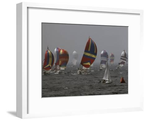 Spinnakered Boats Race in the Plattsburgh Mayor's Cup, Lake Champlain-Phil Schermeister-Framed Art Print