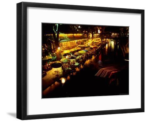 The Popular Riverwalk Lights up with Color on a Summer Evening-Stephen St^ John-Framed Art Print