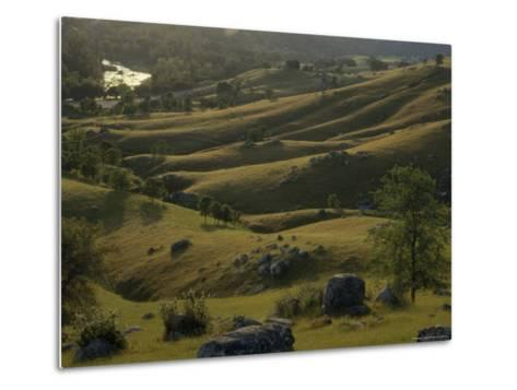 Green Foothills in Spring with South Fork of the American River near Coloma, California-Phil Schermeister-Metal Print