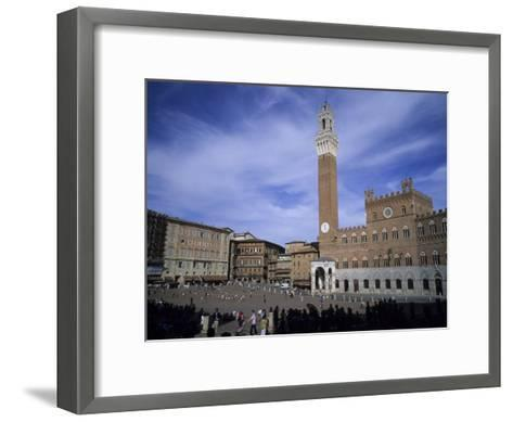 The Piazza Del Campo on a Summer Day with a Few Tourists Around, Siena, Tuscany, Italy-Taylor S^ Kennedy-Framed Art Print