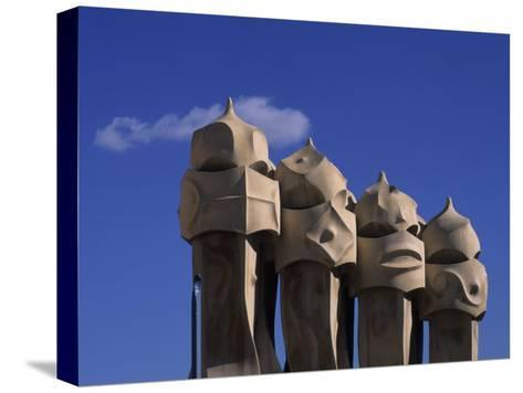 The Strangely Shaped Rooftop Chimneys of La Pedrera Designed by Gaudi, Barcelona, Spain-Taylor S^ Kennedy-Stretched Canvas Print
