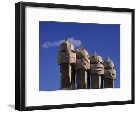 The Strangely Shaped Rooftop Chimneys of La Pedrera Designed by Gaudi, Barcelona, Spain-Taylor S^ Kennedy-Framed Art Print
