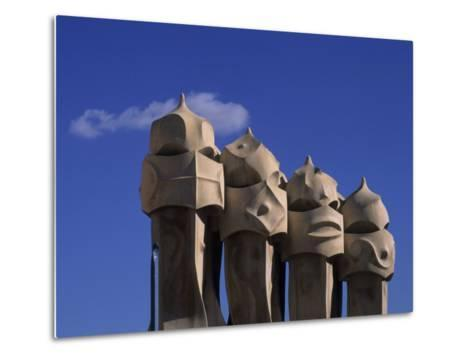 The Strangely Shaped Rooftop Chimneys of La Pedrera Designed by Gaudi, Barcelona, Spain-Taylor S^ Kennedy-Metal Print