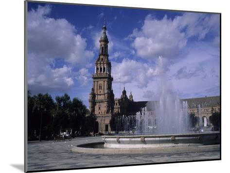 The Fountains of the Plaza De Espana in Seville on a Summer Day, Plaza De Espana, Seville, Spain-Taylor S^ Kennedy-Mounted Photographic Print