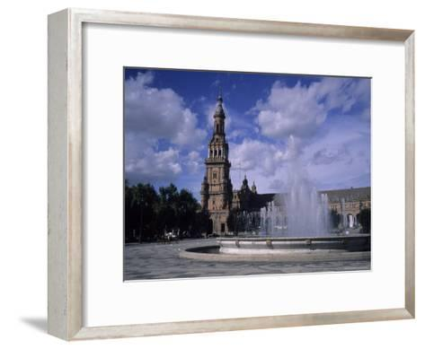 The Fountains of the Plaza De Espana in Seville on a Summer Day, Plaza De Espana, Seville, Spain-Taylor S^ Kennedy-Framed Art Print