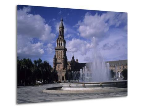 The Fountains of the Plaza De Espana in Seville on a Summer Day, Plaza De Espana, Seville, Spain-Taylor S^ Kennedy-Metal Print