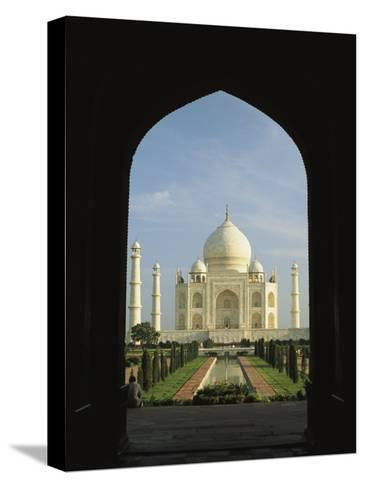 A View of the Taj Mahal Framed Through a Doorway-Ed George-Stretched Canvas Print