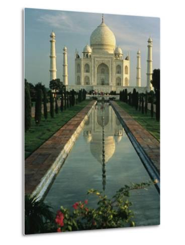The Taj Mahal with a Reflection of the Tomb on the Surface of a Pool-Ed George-Metal Print