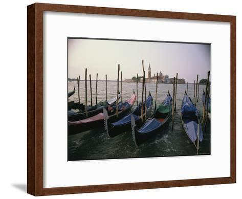 Gondolas at Anchor Line a Shore-Ed George-Framed Art Print