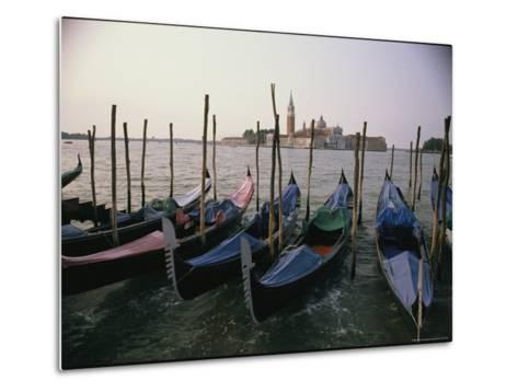 Gondolas at Anchor Line a Shore-Ed George-Metal Print