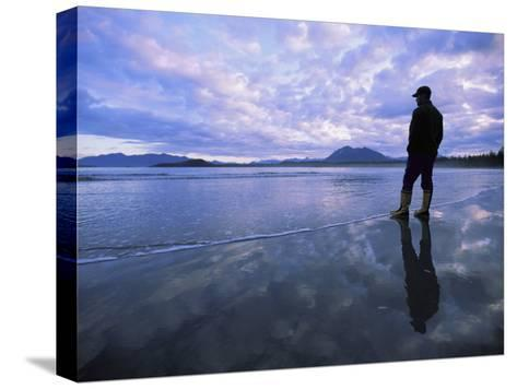 A Man Stands at the Tide-Line on Vargas Island at Dawn-Joel Sartore-Stretched Canvas Print