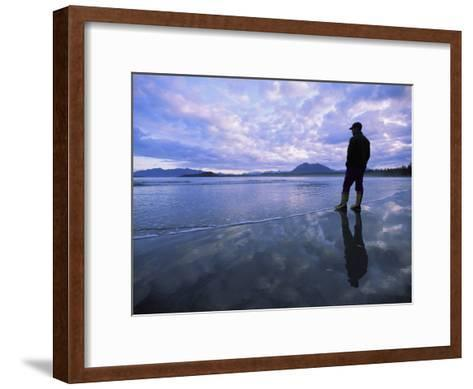 A Man Stands at the Tide-Line on Vargas Island at Dawn-Joel Sartore-Framed Art Print