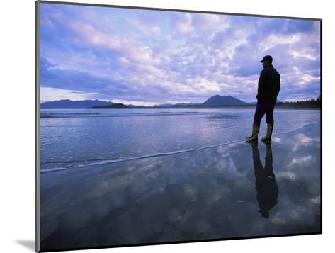 A Man Stands at the Tide-Line on Vargas Island at Dawn-Joel Sartore-Mounted Photographic Print