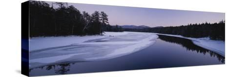 Twilight View of the Second Pond of the Lower Saranac Lake-Michael Melford-Stretched Canvas Print