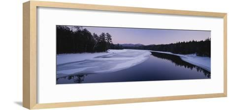 Twilight View of the Second Pond of the Lower Saranac Lake-Michael Melford-Framed Art Print