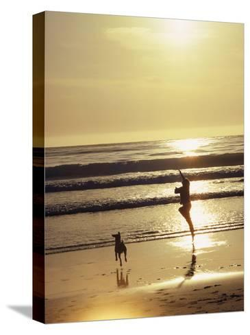 A Pet Dog Runs with its Owner on a Beach-Bill Curtsinger-Stretched Canvas Print