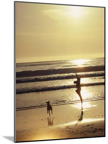 A Pet Dog Runs with its Owner on a Beach-Bill Curtsinger-Mounted Photographic Print