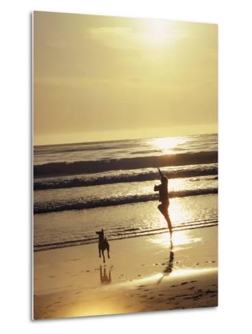 A Pet Dog Runs with its Owner on a Beach-Bill Curtsinger-Metal Print