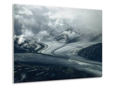 Branches of a Glacier Join Together Below Cloud-Covered Peaks-George F^ Mobley-Metal Print