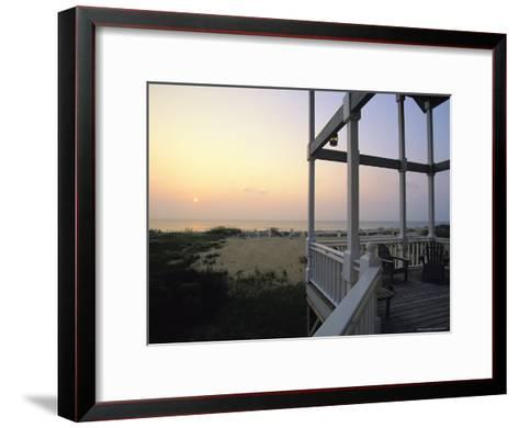 View of Sunset from the Deck of a Beach Cottage-Steve Winter-Framed Art Print