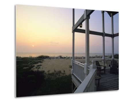 View of Sunset from the Deck of a Beach Cottage-Steve Winter-Metal Print