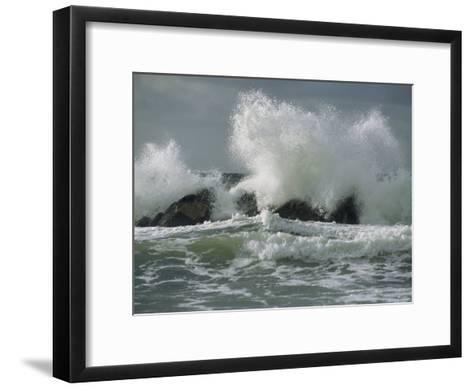 Wild Breakers Crash against the Rocky Outcrops of Cape Breton-Raymond Gehman-Framed Art Print