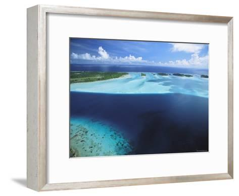Clear Blue Water Surrounds Small Pacific Islands-Tim Laman-Framed Art Print