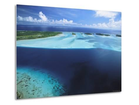 Clear Blue Water Surrounds Small Pacific Islands-Tim Laman-Metal Print