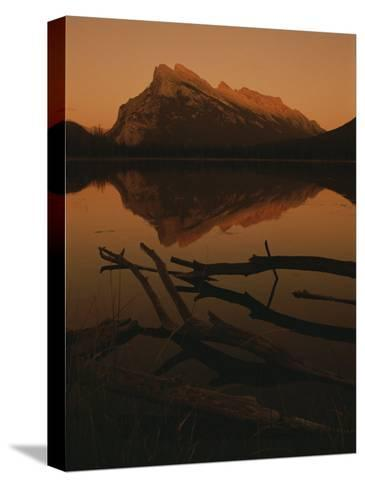 Vermilion Lakes at Sunset with Mount Rundle in the Background-Raymond Gehman-Stretched Canvas Print
