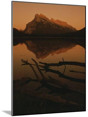 Vermilion Lakes at Sunset with Mount Rundle in the Background-Raymond Gehman-Mounted Photographic Print