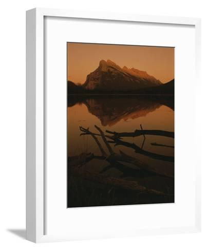 Vermilion Lakes at Sunset with Mount Rundle in the Background-Raymond Gehman-Framed Art Print