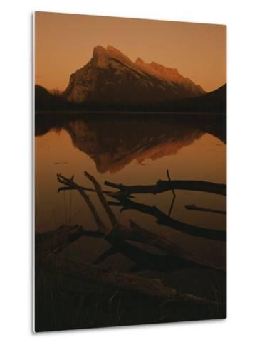 Vermilion Lakes at Sunset with Mount Rundle in the Background-Raymond Gehman-Metal Print