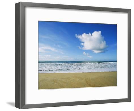Beach, Ocean, Sky, and Clouds Above Cape Hatteras--Framed Art Print