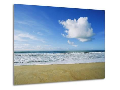 Beach, Ocean, Sky, and Clouds Above Cape Hatteras--Metal Print