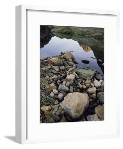 A Rocky Shore and Reflections on Water in the San Juan Mountains-Bill Hatcher-Framed Art Print