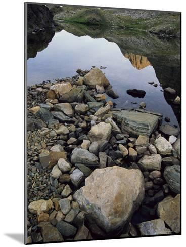 A Rocky Shore and Reflections on Water in the San Juan Mountains-Bill Hatcher-Mounted Photographic Print