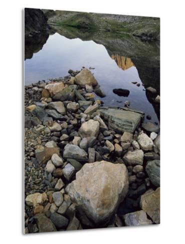 A Rocky Shore and Reflections on Water in the San Juan Mountains-Bill Hatcher-Metal Print